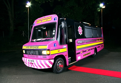 Pink Fire Engine Party Bus Hire, Belfast